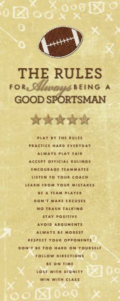 Be a good sportsman and have a successful year